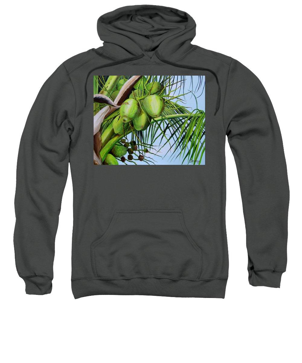 Greencoconuts Sweatshirt featuring the painting Green Coconuts-02 by Dominica Alcantara