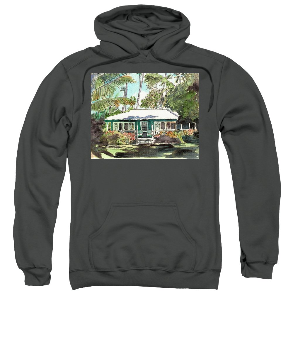 Cottage Sweatshirt featuring the painting Green Cottage by Marionette Taboniar