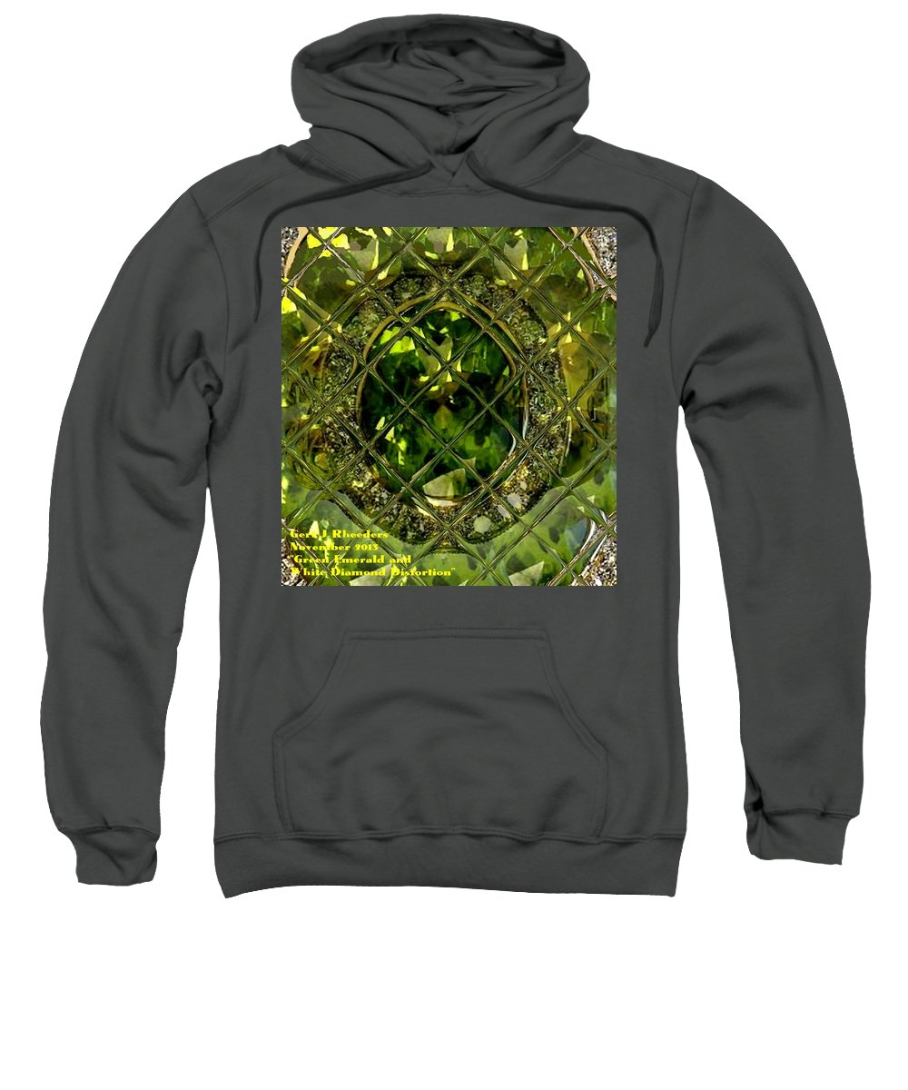 Announcement Sweatshirt featuring the painting Green Emerald And White Diamond Brooch Distortion Aa H A by Gert J Rheeders