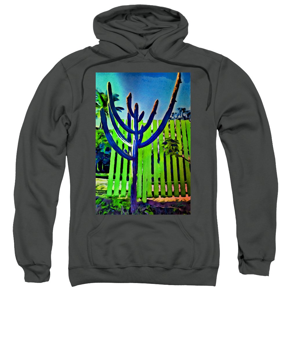 Watercolor Sweatshirt featuring the painting Green Fence by Joan Reese