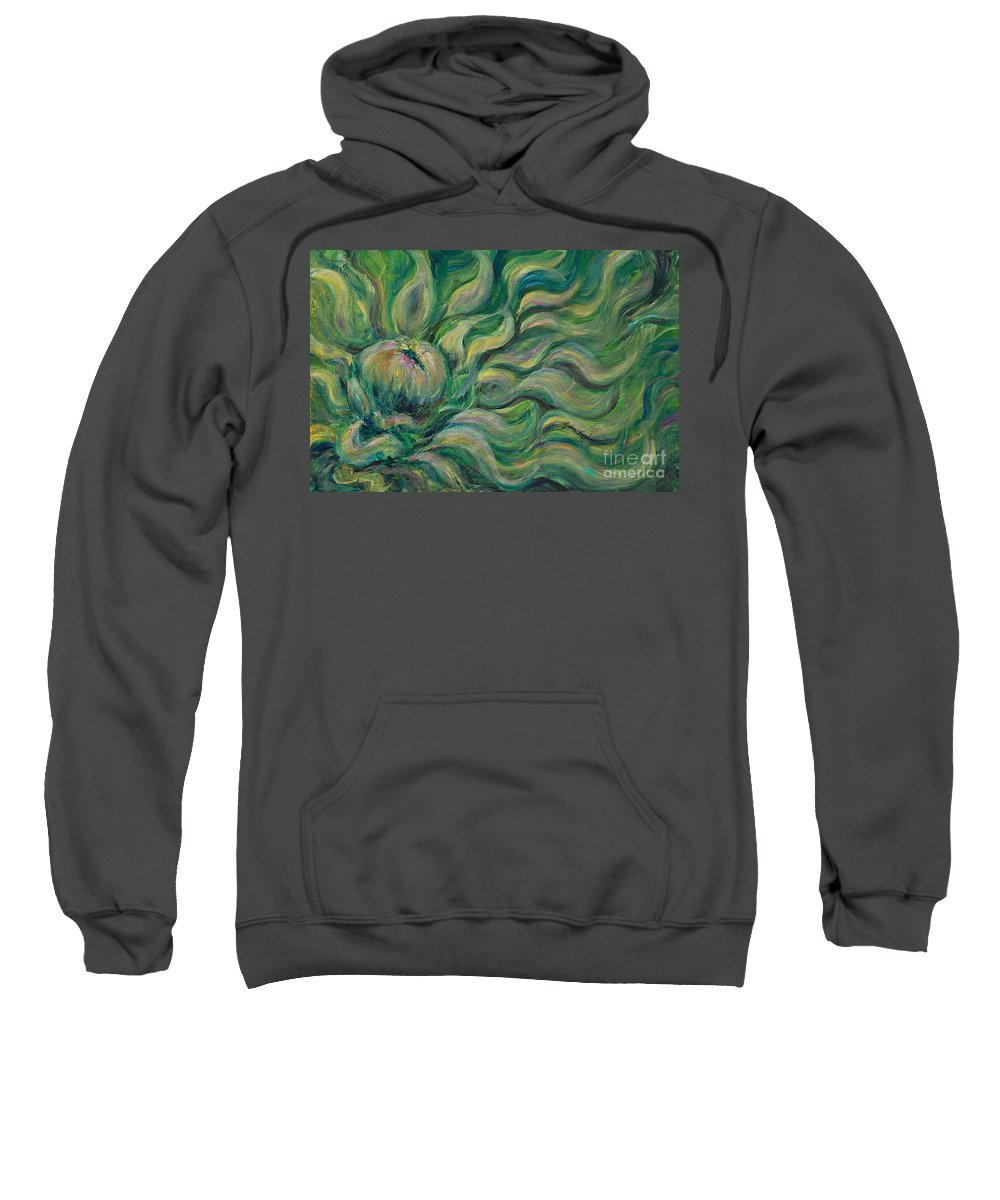 Green Sweatshirt featuring the painting Green Flowing Flower by Nadine Rippelmeyer