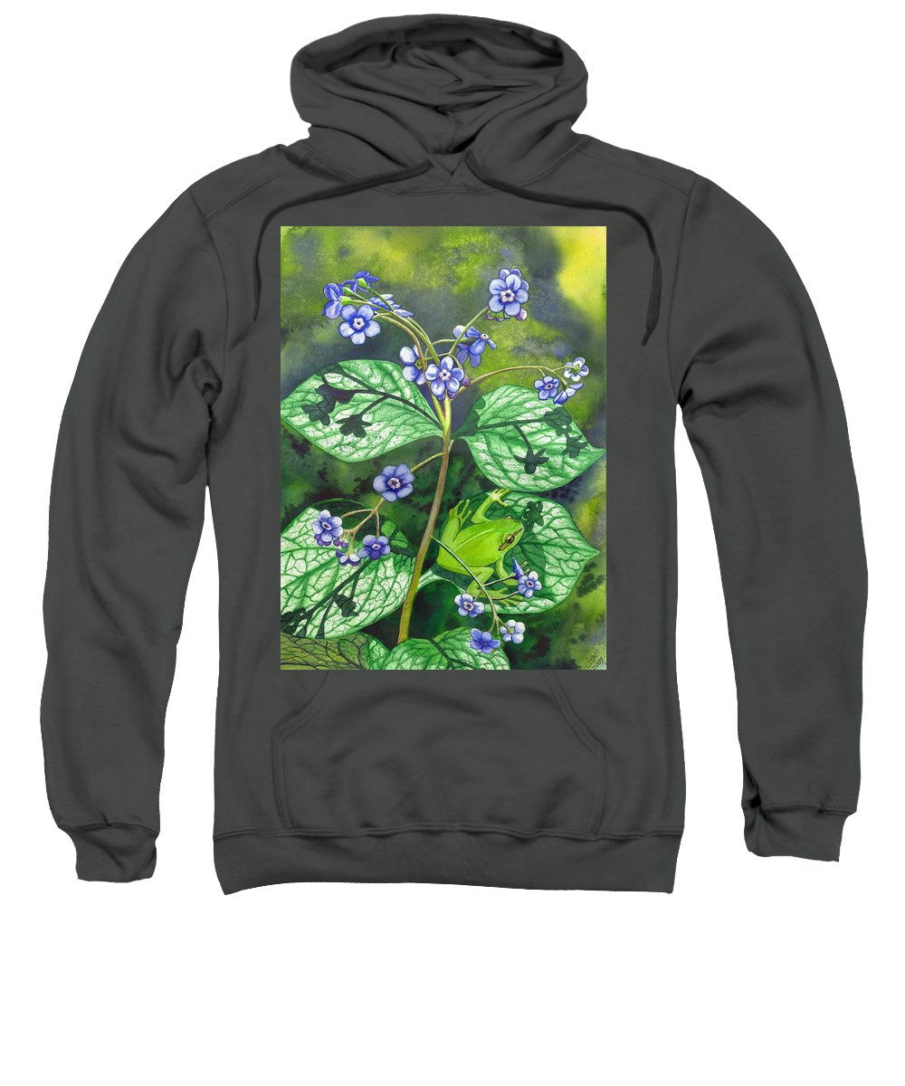 Frog Sweatshirt featuring the painting Green Frog by Catherine G McElroy