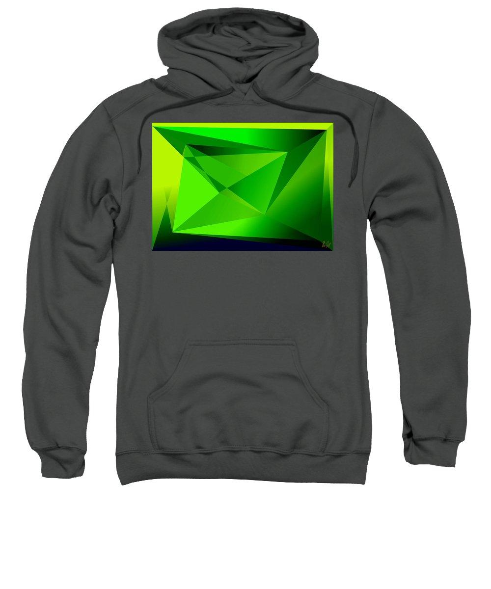 Pyramiden Sweatshirt featuring the digital art Green by Helmut Rottler