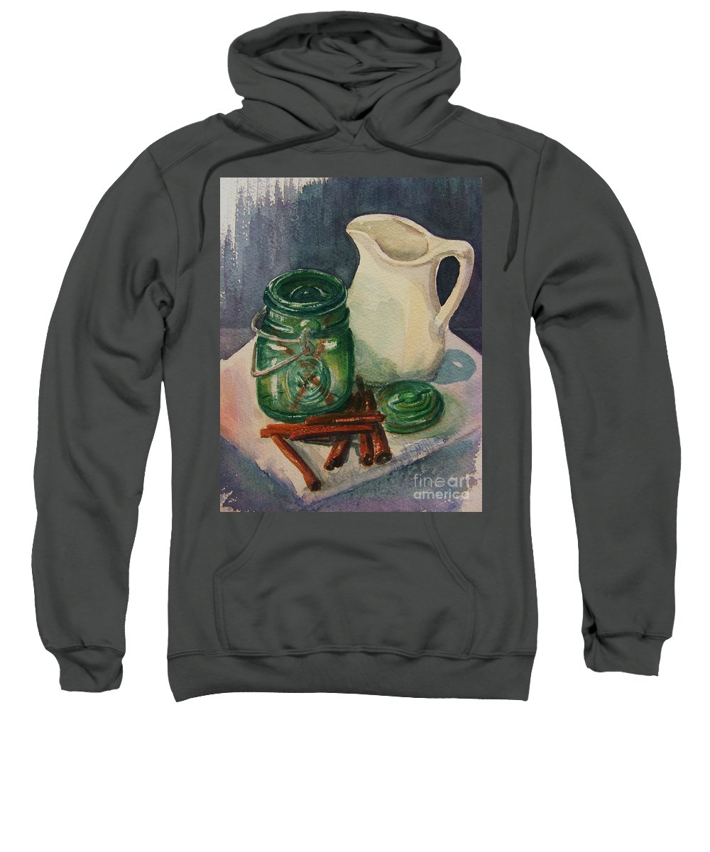 Still Life Sweatshirt featuring the painting Green Jar by Marilyn Smith