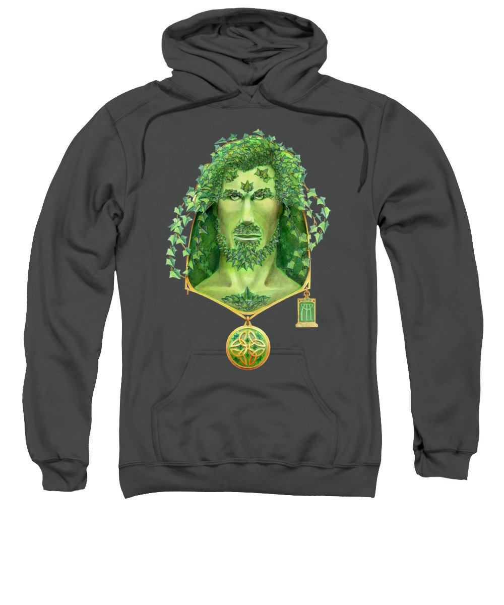 Green Man Sweatshirt featuring the painting Ivy Green Man by Melissa A Benson