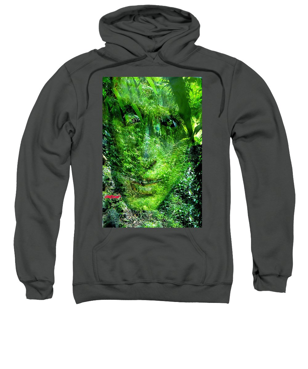 Nature Sweatshirt featuring the digital art Green Man by Seth Weaver