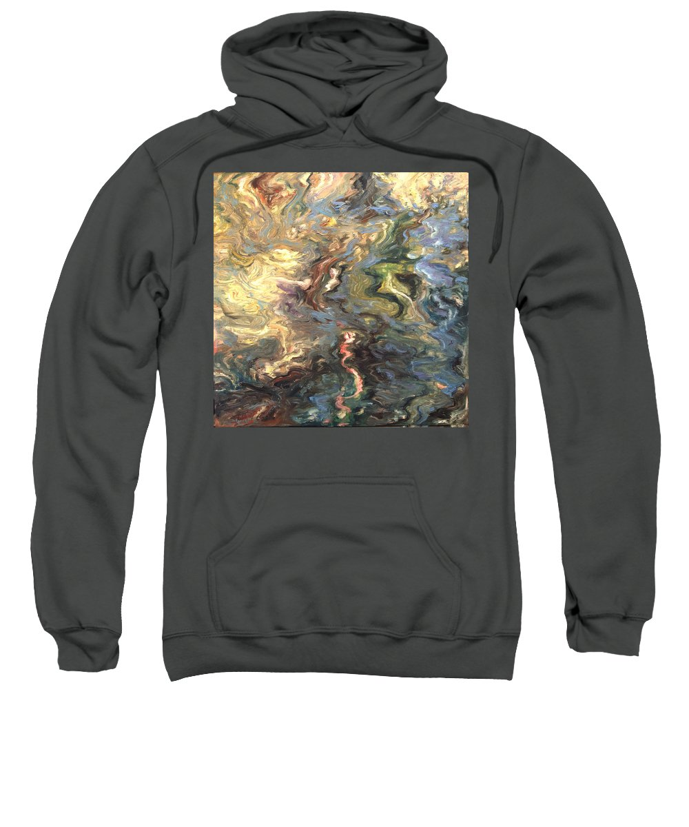 Green Sweatshirt featuring the painting Green by Rick Nederlof