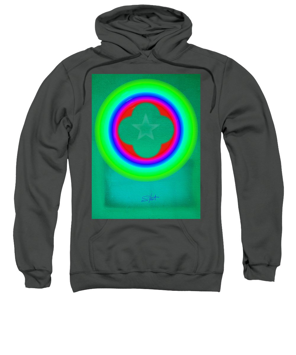 Abstract Sweatshirt featuring the painting Green See by Charles Stuart