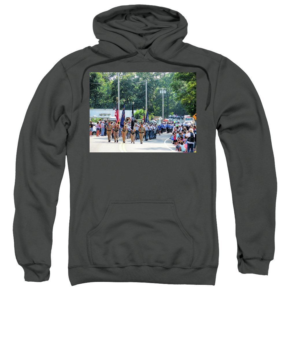 Greene County Sweatshirt featuring the painting Greene County Volunteer Firemens Association Inc 2 by Jeelan Clark