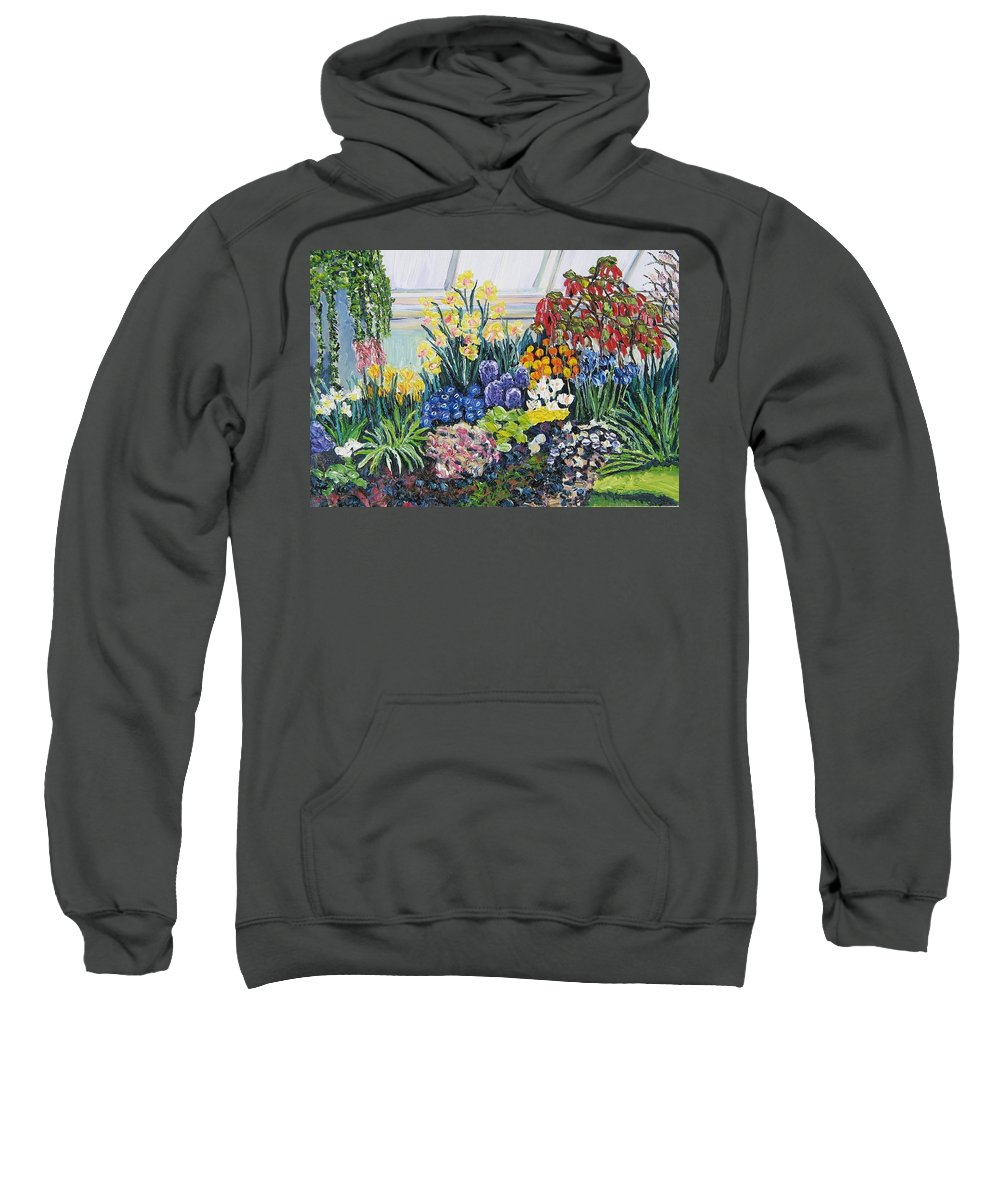 Flowers Sweatshirt featuring the painting Greenhouse Flowers With Blue And Red by Richard Nowak