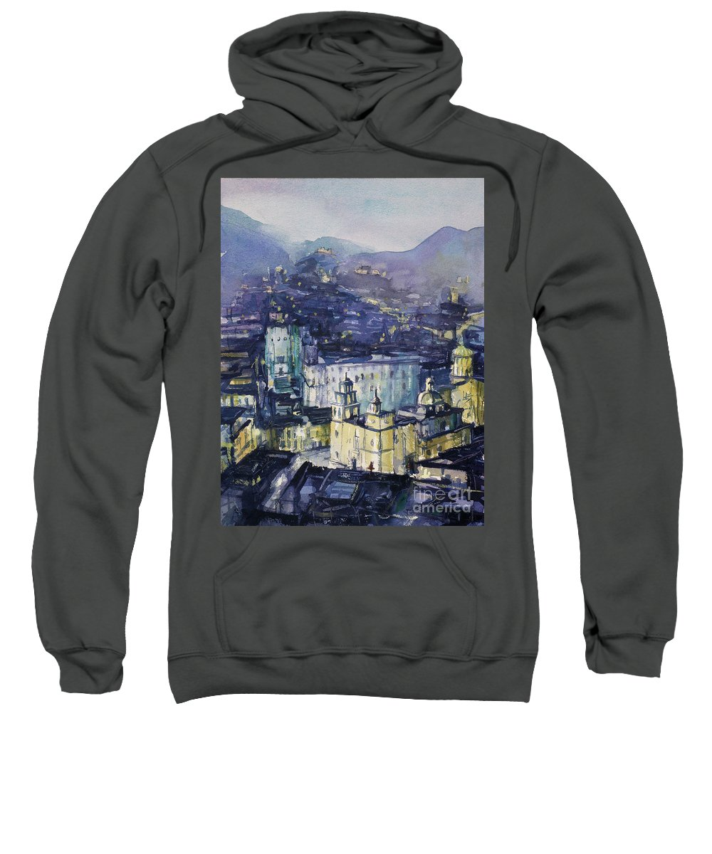 Sweatshirt featuring the painting Guanajuato At Night by Ryan Fox