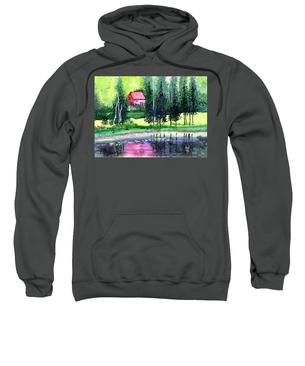 Landscape Sweatshirt featuring the painting Guest House by Anil Nene
