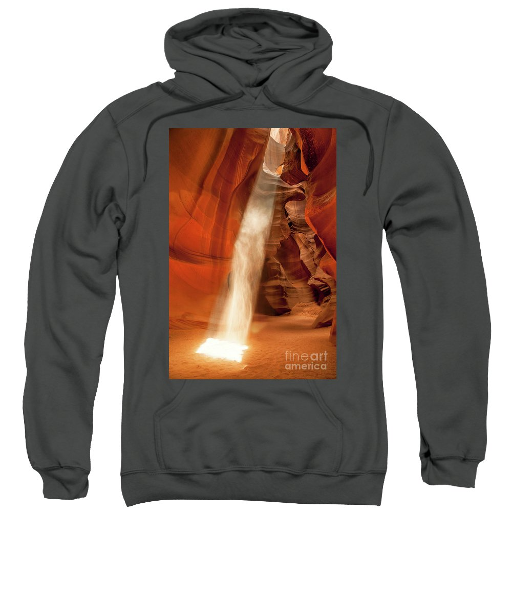 Antelope Canyon Page Sweatshirt featuring the photograph Guiding Light by Martin Williams
