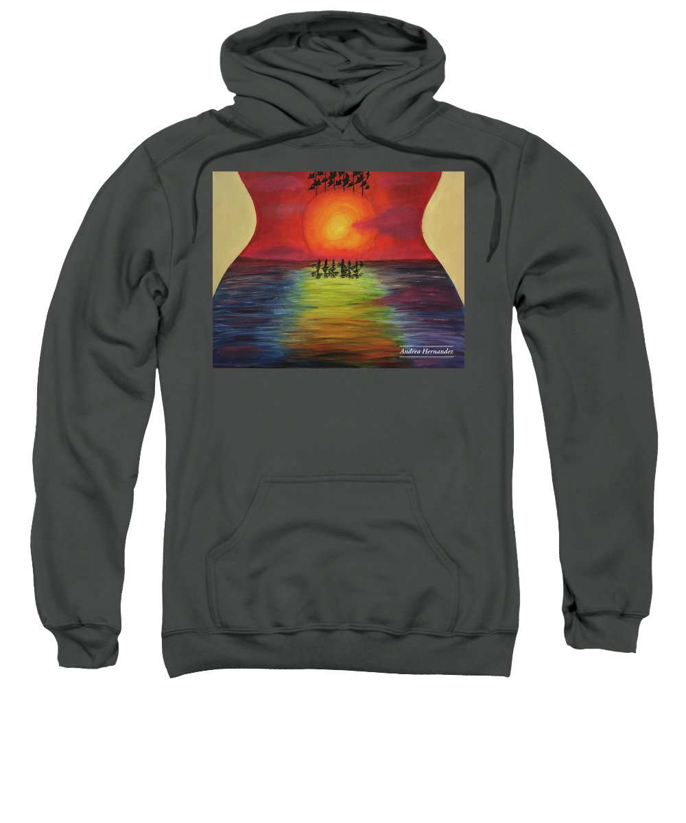 Guitar Sweatshirt featuring the painting Guitar Suset by Andrea Hernandez