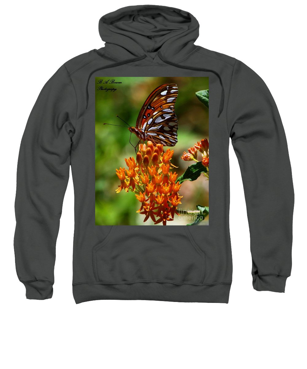 Gulf Fritillary Sweatshirt featuring the photograph Gulf Fritillary On Butterflyweed by Barbara Bowen