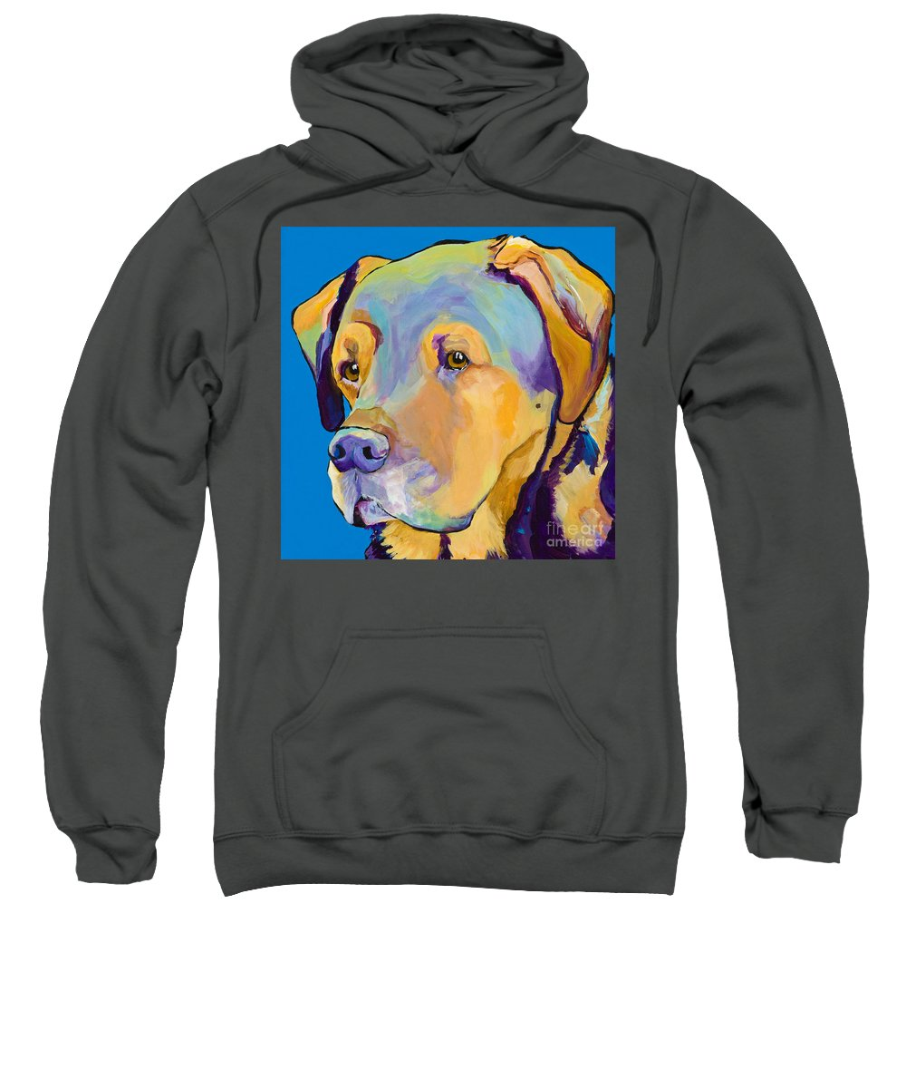 Dog Portrait Sweatshirt featuring the painting Gunner by Pat Saunders-White