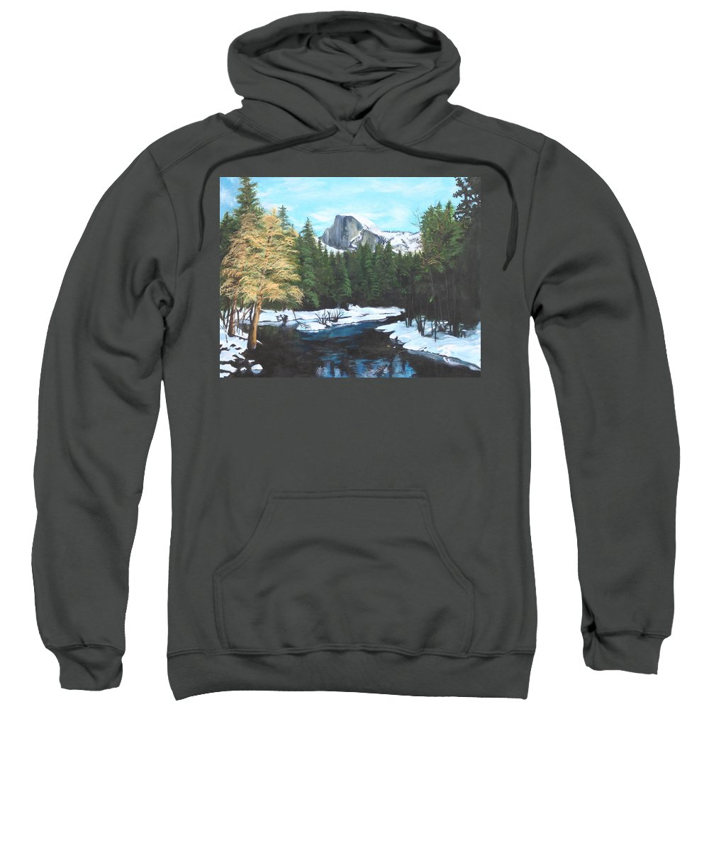 Lkandscape Sweatshirt featuring the painting Half Dome Snow by Travis Day