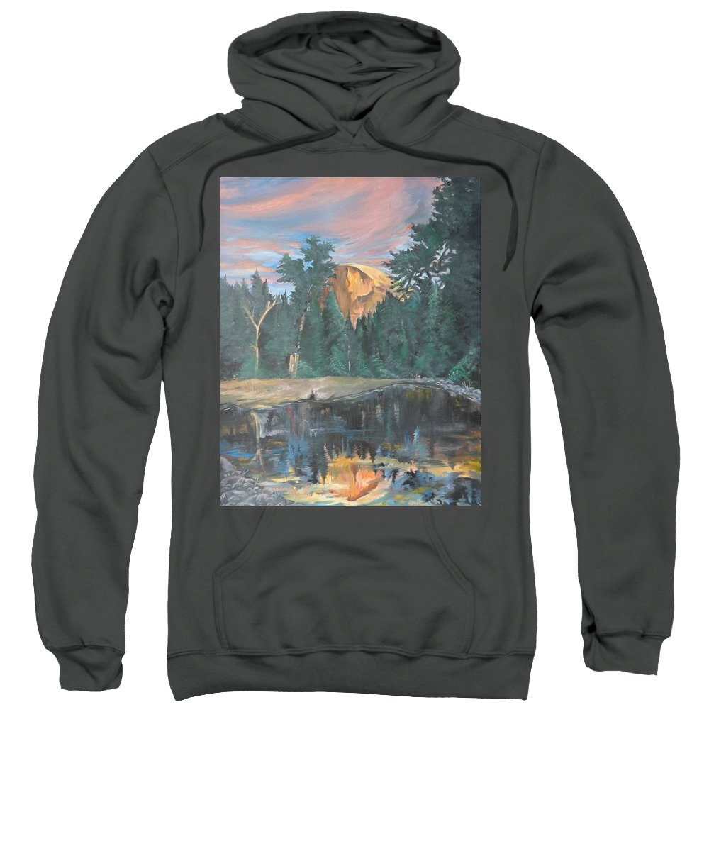 Sunset Sweatshirt featuring the painting Half Dome Sunset by Travis Day