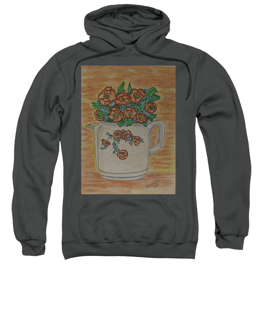 Hall China Sweatshirt featuring the painting Hall China Orange Poppy And Poppies by Kathy Marrs Chandler