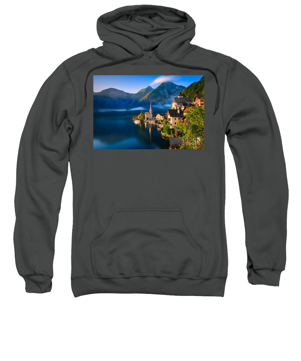 Photography Sweatshirt featuring the photograph Hallstatt Is A Village In The Salzkammergut, A Region In Austria by Henk Meijer Photography