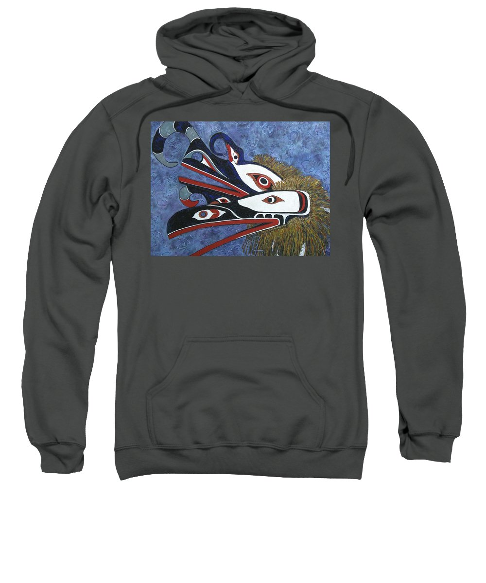 North West Native Sweatshirt featuring the painting Hamatsa Masks by Elaine Booth-Kallweit