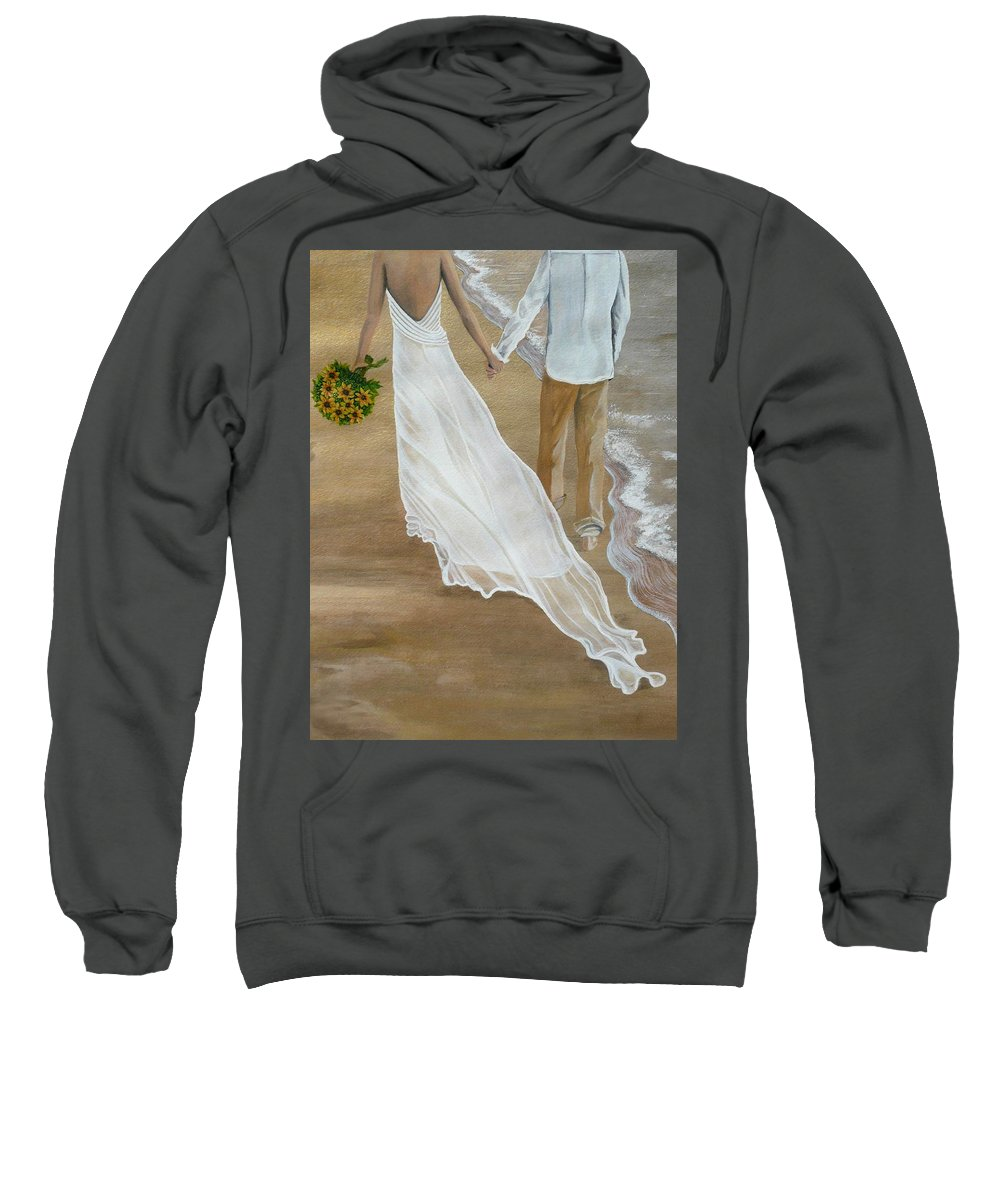 Bride And Groom Sweatshirt featuring the painting Hand In Hand by Kris Crollard