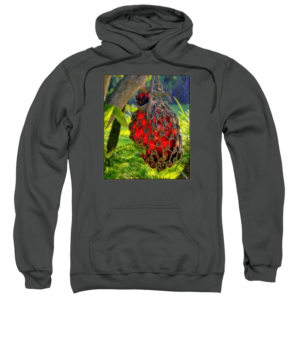 Red Bottle Sweatshirt featuring the photograph Hanging Red Bottle Garden Art by Ginger Wakem
