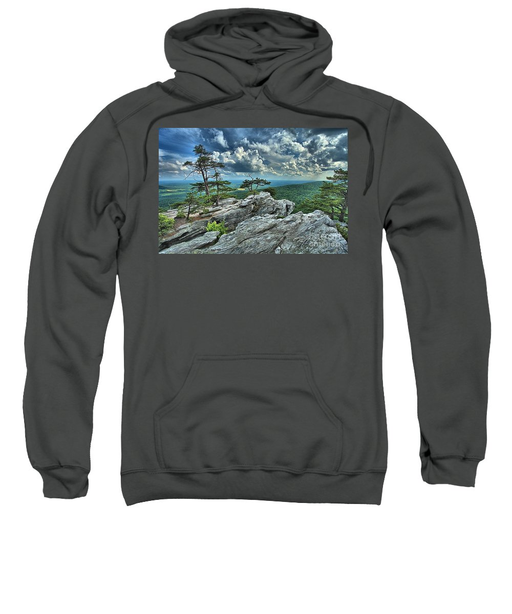 Hanging Rock State Park Sweatshirt featuring the photograph Hanging Rock Overlook by Adam Jewell