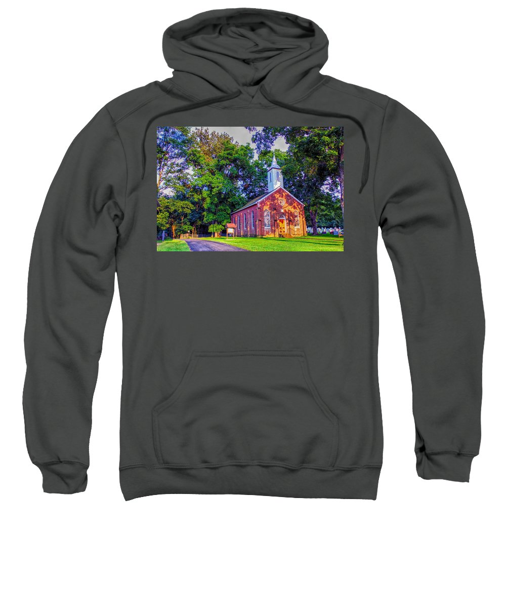 Hanover Lutheran Church Sweatshirt featuring the photograph Hanover Church - Summer by Robert Cox