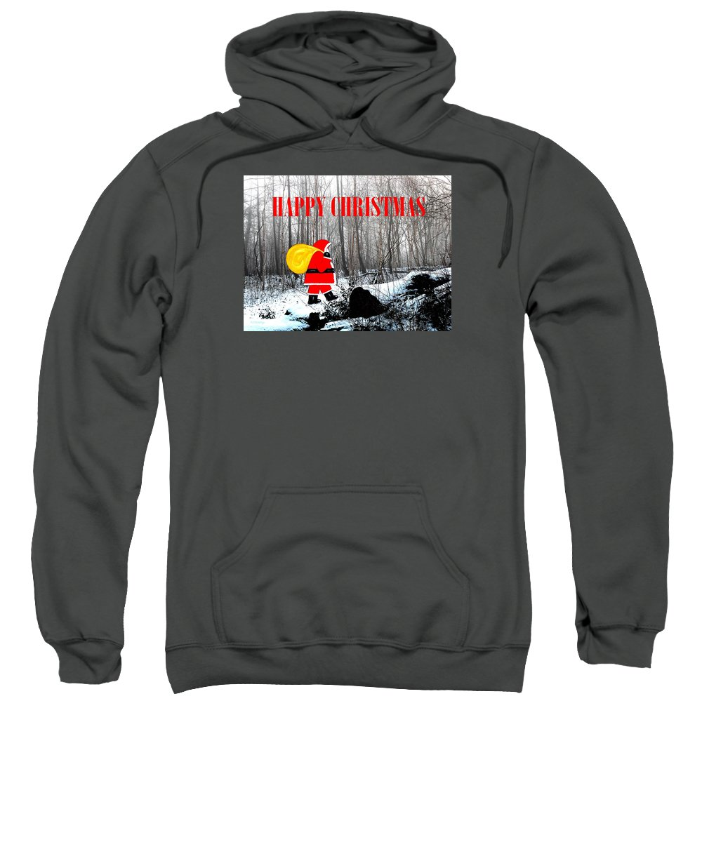 Christmas Sweatshirt featuring the painting Happy Christmas 60 by Patrick J Murphy