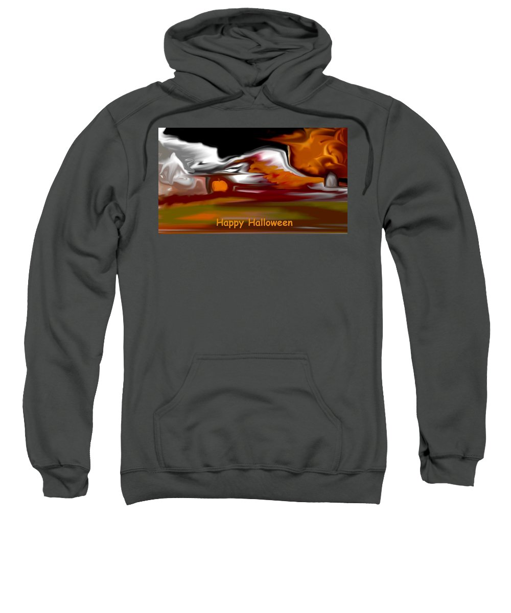 Abstract Digital Painting Sweatshirt featuring the digital art Happy Halloween by David Lane