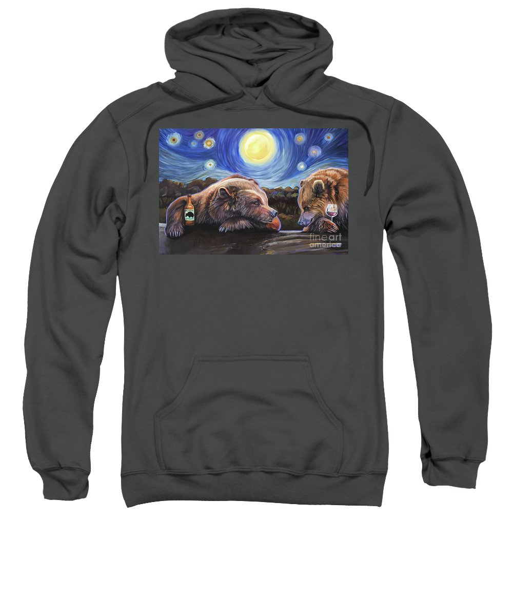Bear Sweatshirt featuring the painting Happy Hour by J W Baker