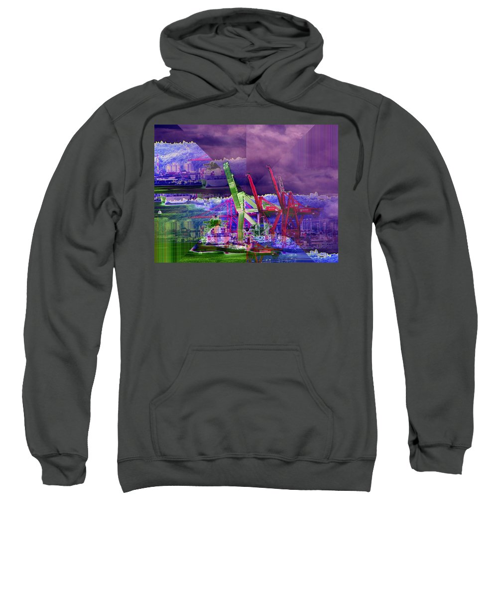 Seattle Sweatshirt featuring the digital art Harbor Island Workhorses by Tim Allen