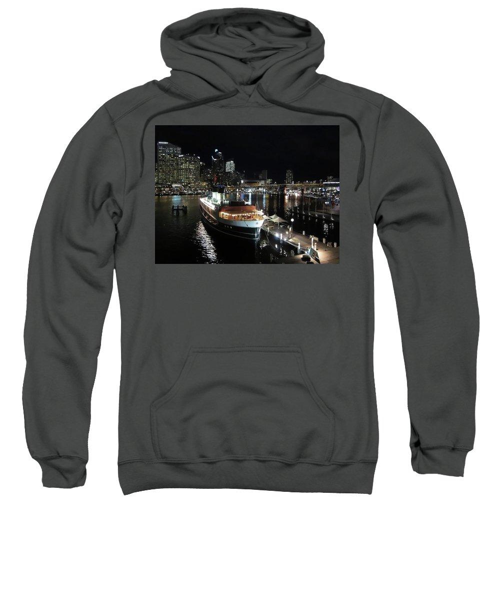 Darling Harbor Sweatshirt featuring the photograph Harbor Lights by Douglas Barnard