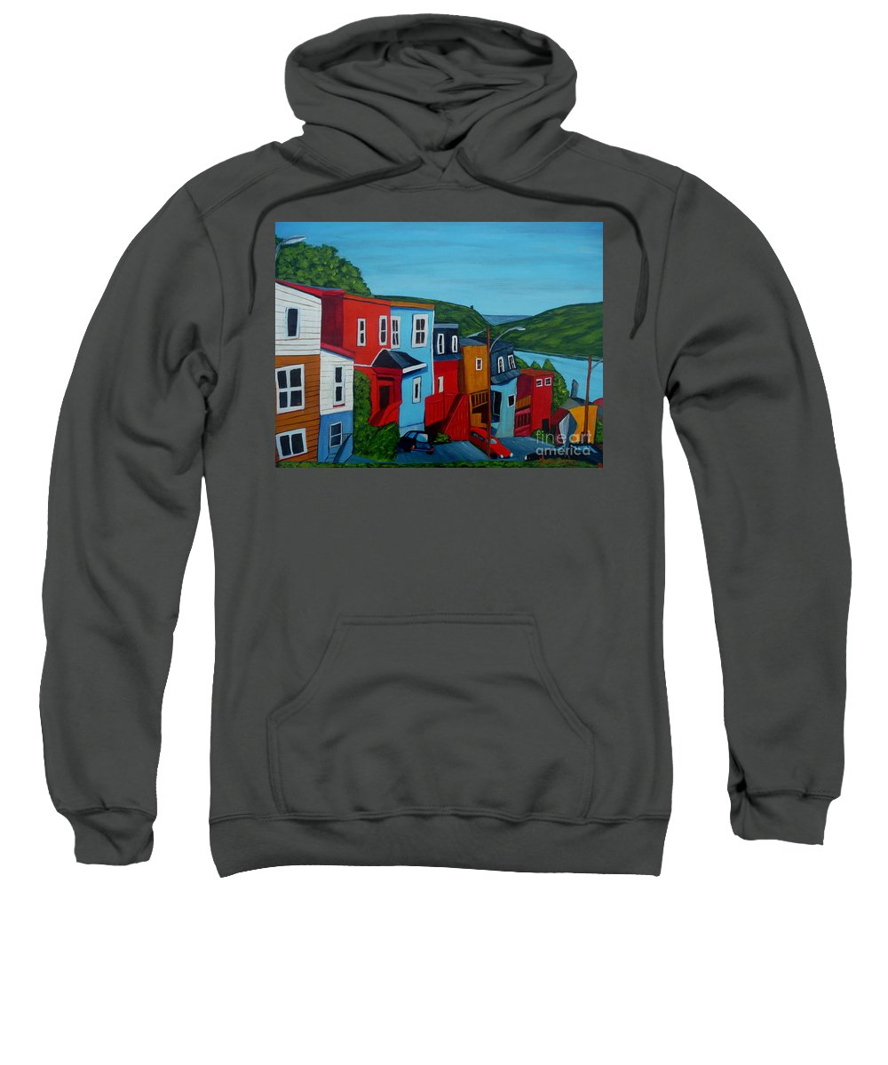 Newfoundland Sweatshirt featuring the painting Harborview by Anthony Dunphy