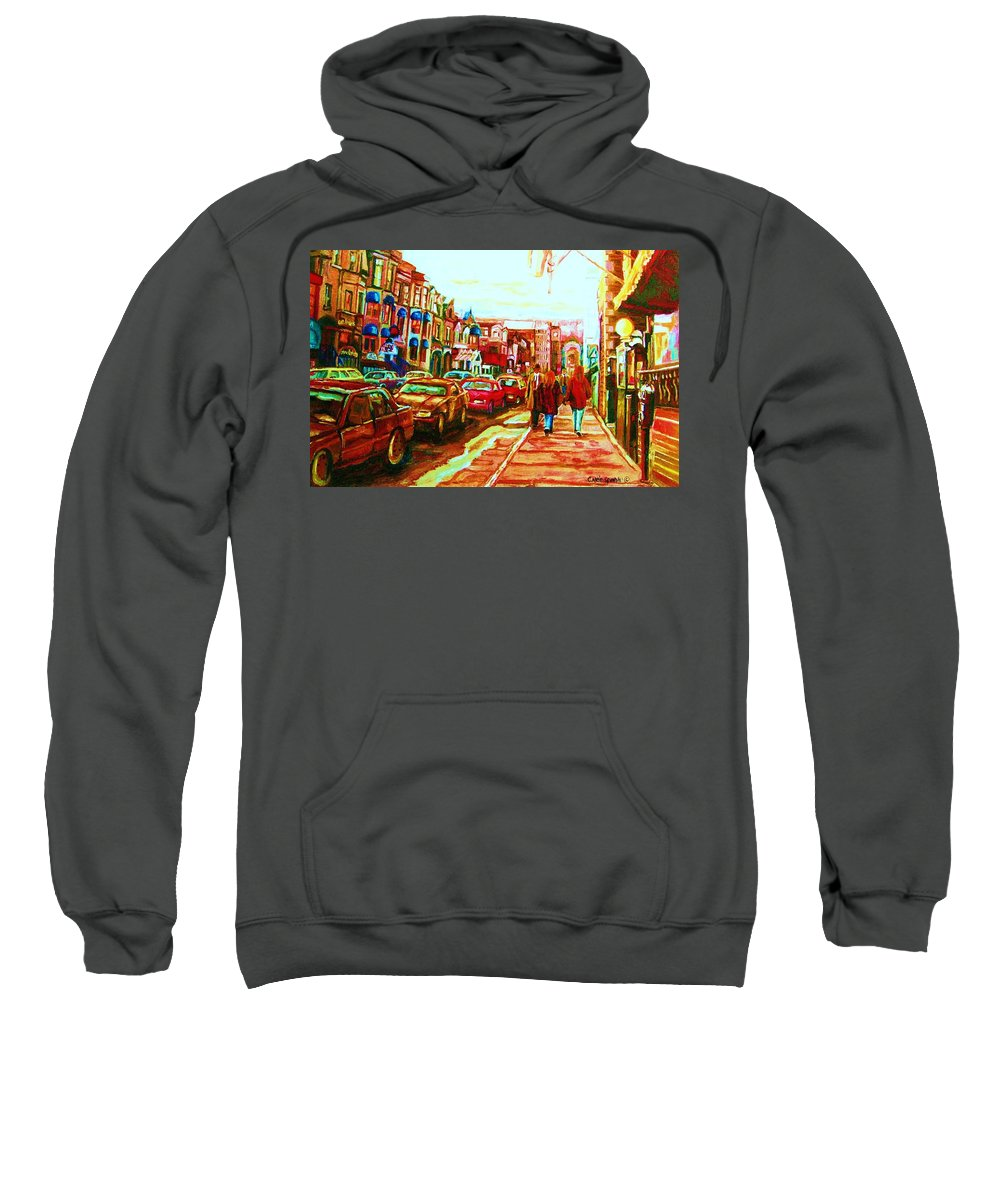 Montreal Streetscenes Sweatshirt featuring the painting Hard Rock On Crescent by Carole Spandau