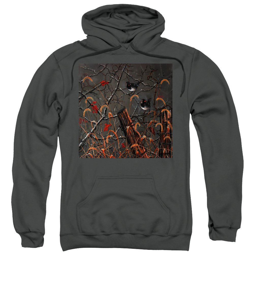 Harris Sparrow Sweatshirt featuring the painting Harris Sparrows And Bittersweet by Mike Ross