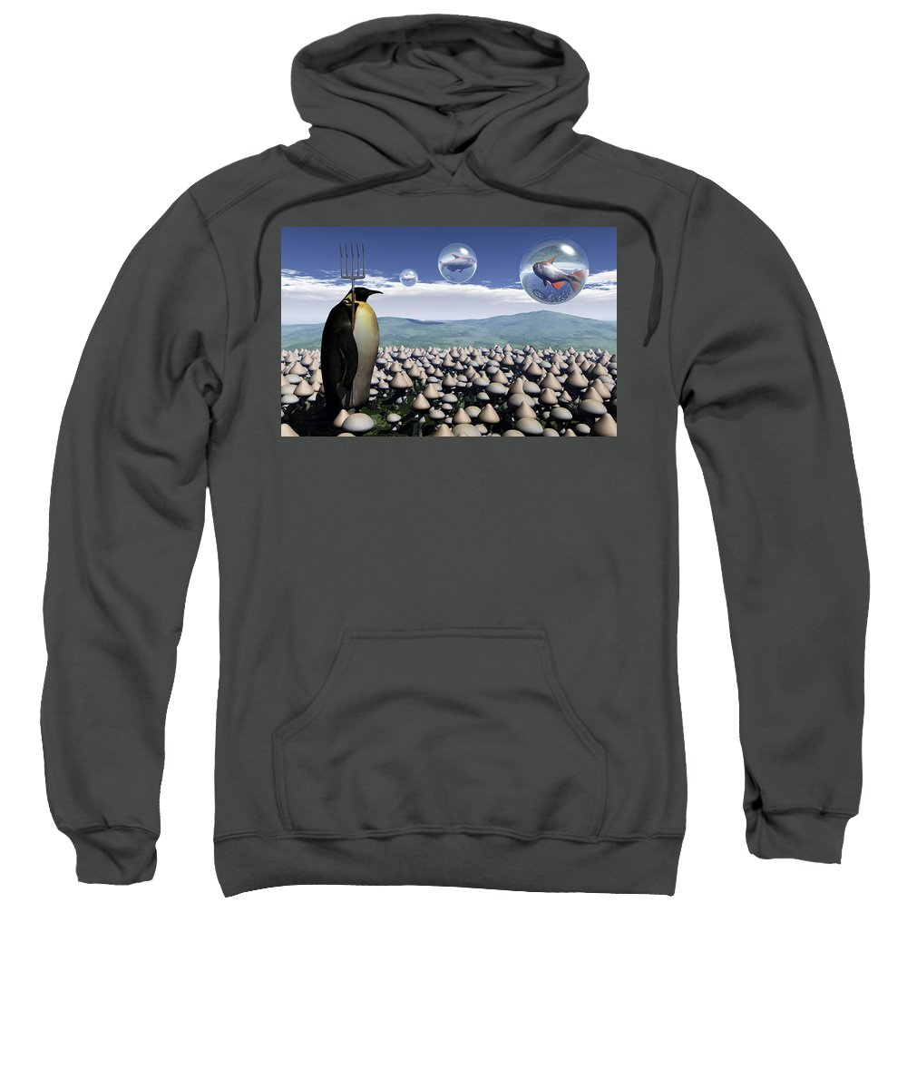 Surreal Sweatshirt featuring the digital art Harvest Day Sightings by Richard Rizzo
