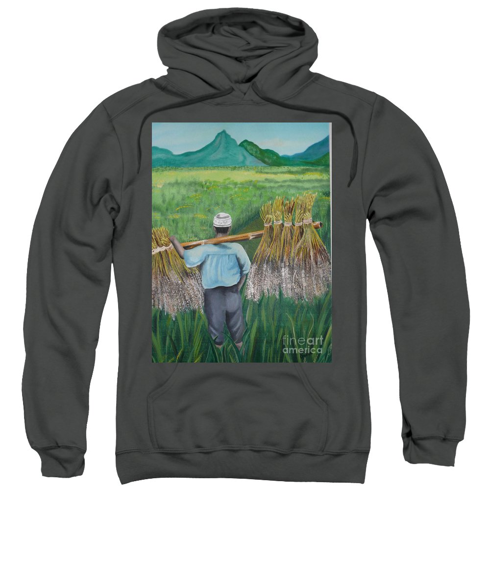 Landscape Sweatshirt featuring the painting Harvest by Kris Crollard
