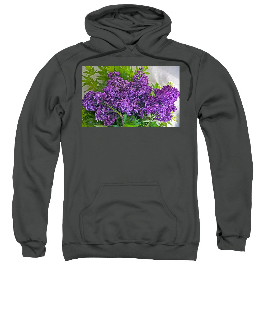 Lilac Sweatshirt featuring the photograph Harvesting Aroma by Gwyn Newcombe