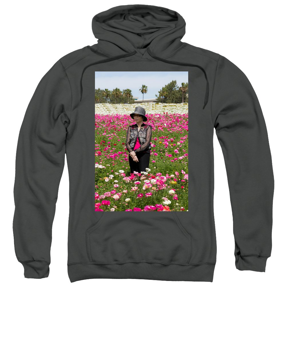 Candid Sweatshirt featuring the photograph Hatted Lady In A Field by Garry Loss