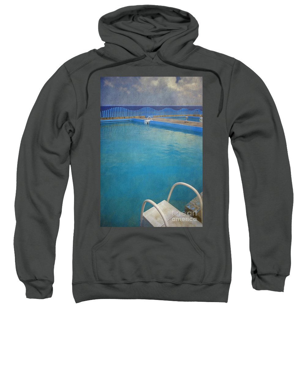 Havana Sweatshirt featuring the photograph Havana Cuba Swimming Pool And Ocean by David Zanzinger