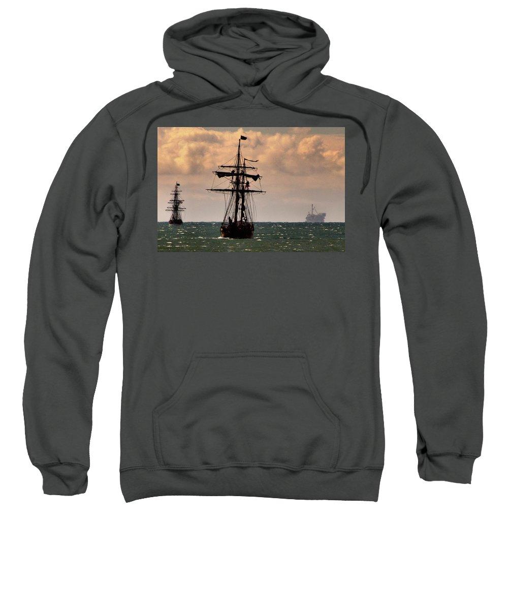 Tall Ship. Hawaiian Chieftain Sweatshirt featuring the photograph Hawaiian Chieftain-3 by Michael Gordon