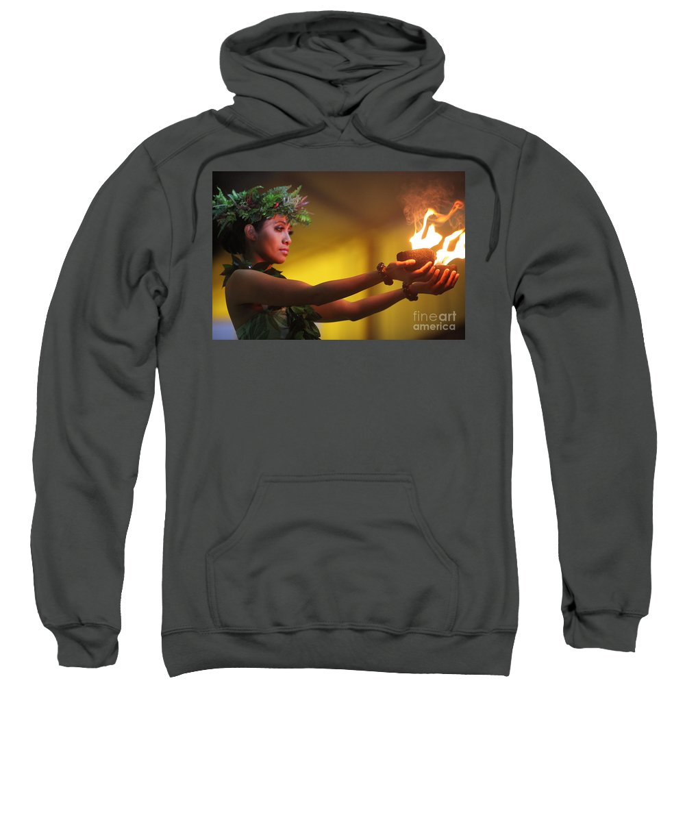Fire Sweatshirt featuring the photograph Hawaiian Dancer And Firepots by Nadine Rippelmeyer