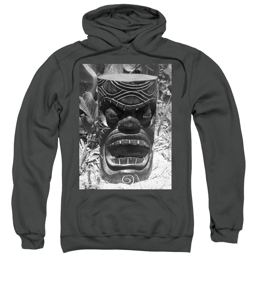 Black And White Sweatshirt featuring the photograph Hawaiian Tiki God Ku by Mary Deal
