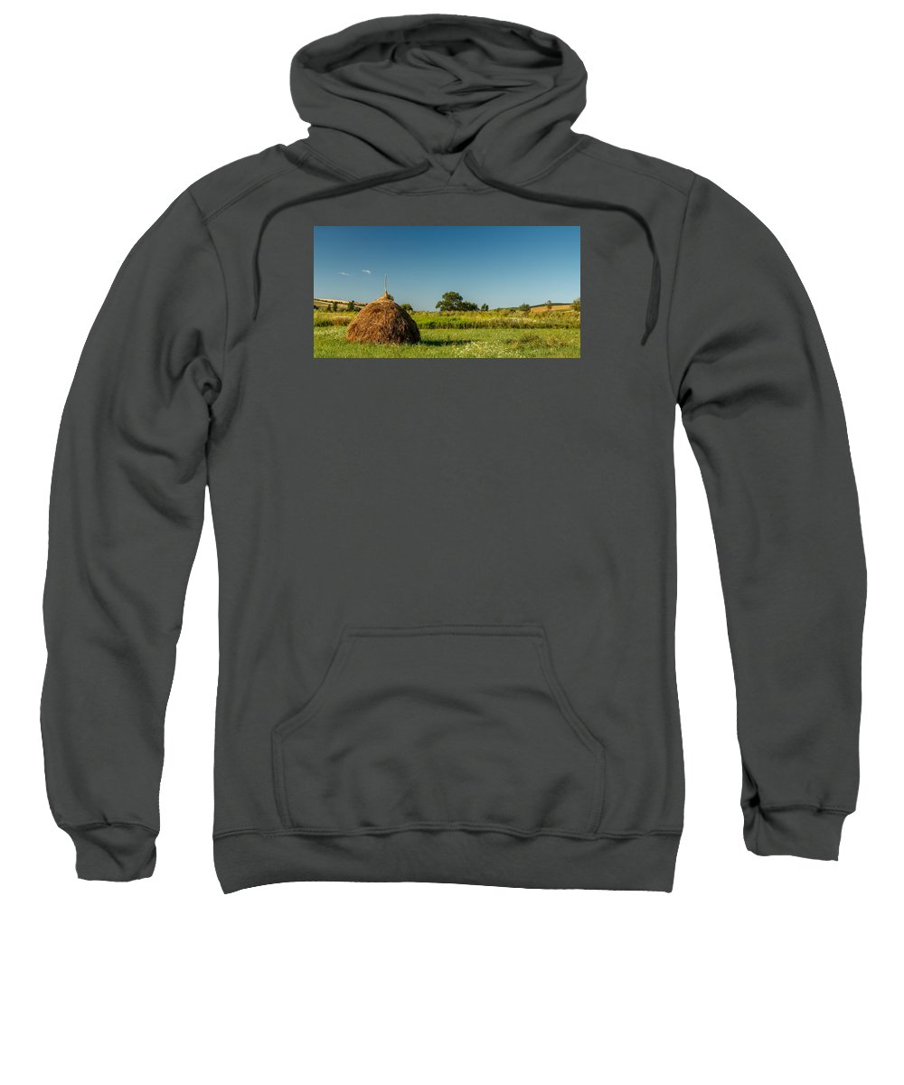Straw Sweatshirt featuring the photograph Hay Bale On A Rural Field by Zoltan Albertini