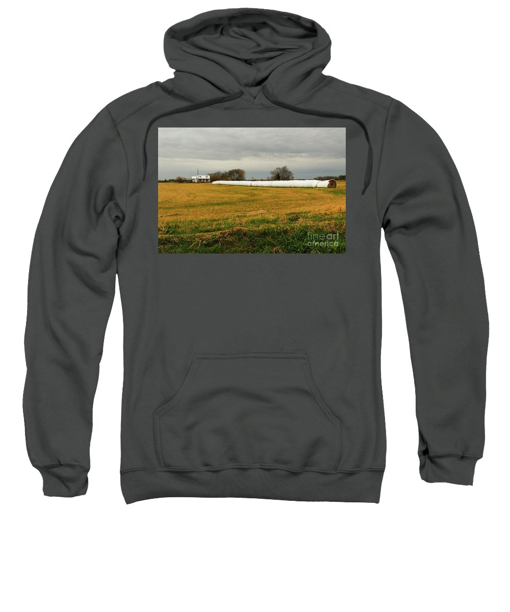 Landscape Sweatshirt featuring the photograph Hay Roll by Barry Bohn