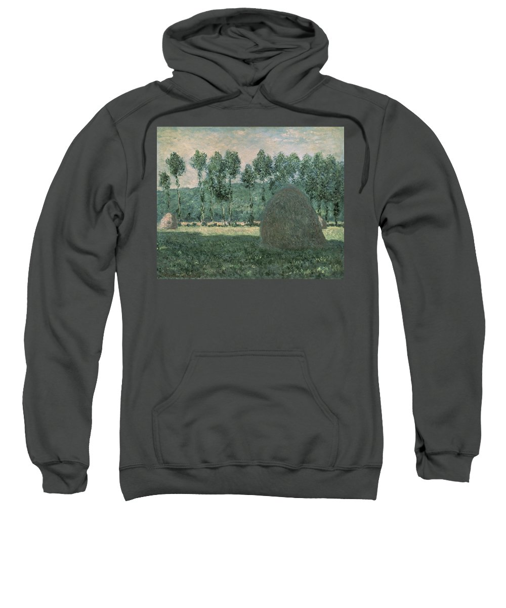 Impressionist; Landscape; Trees; France Sweatshirt featuring the painting Haystacks Near Giverny by Claude Monet