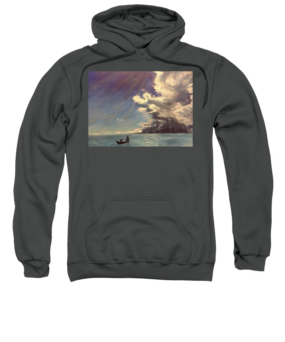 Seascape Sweatshirt featuring the painting He Will Lead by Kimberley Gates