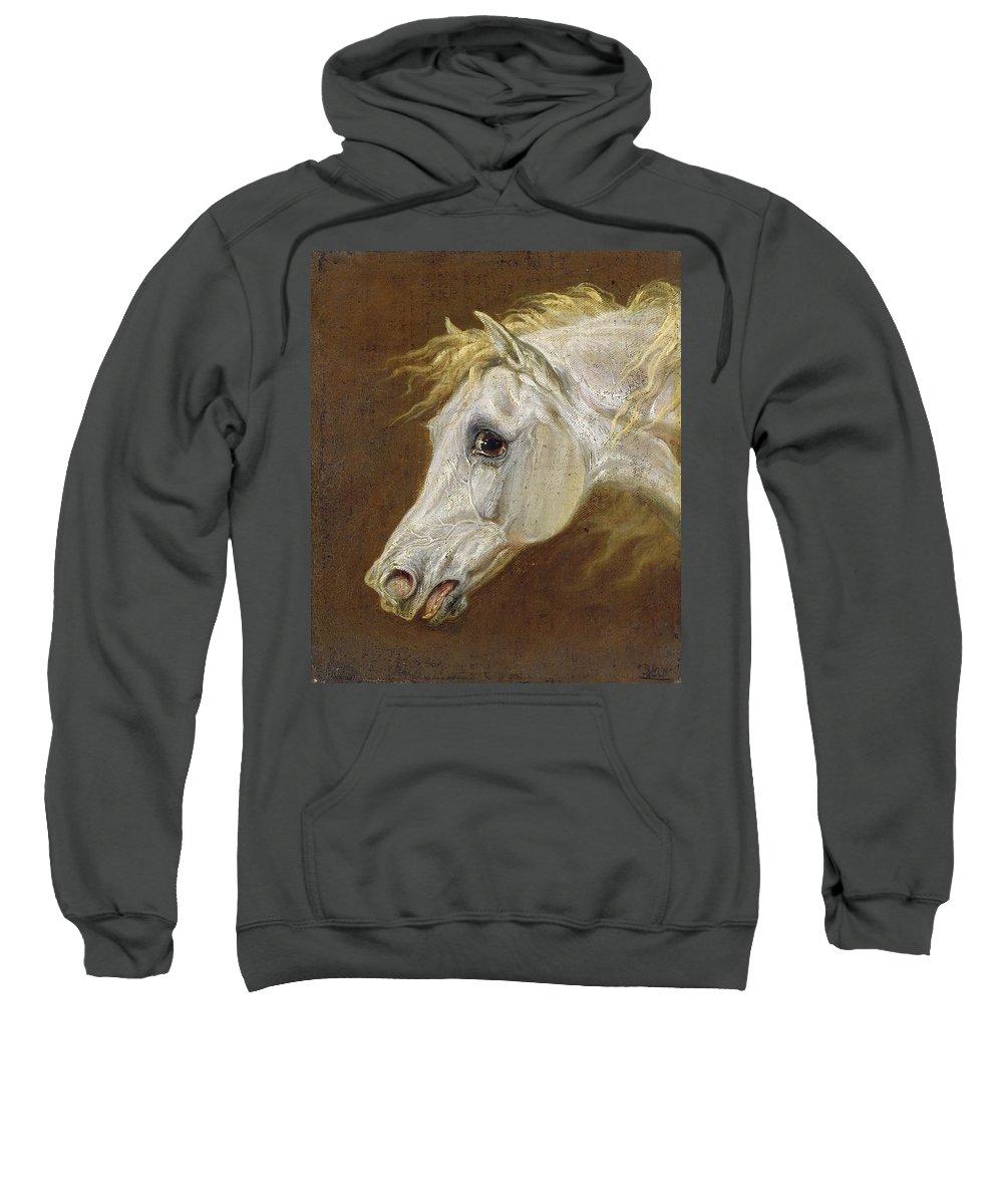 Head Sweatshirt featuring the painting Head Of A Grey Arabian Horse by Martin Theodore Ward